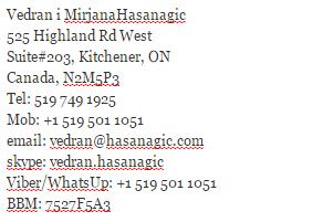 kontakt informacije Vedran HAsanagic